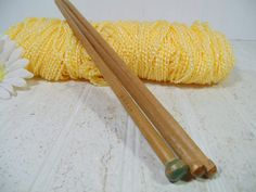 Vintage Wooden Large Knitting Needles Trio Collection - Retro Sewing Necessities Set of 3 Pieces - Ready for Display, Use or Repurposing by DivineOrders on Etsy
