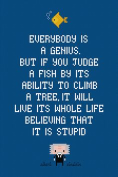 Fish  Albert Einstein Quote  Digital PDF by AmazingCrossStitch, $4.00