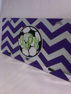 Beautiful #chevron and #monogrammed #soccer ball mirror license plate we shipped off to a web customer. We offer a wide variety of original yet #custom car tags on our mobile friendly site