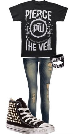 Emo style / outfit / cute / black / band / merch / pierce the veil / converse