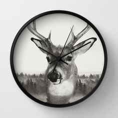 Whitetail Deer Black and White Double Exposure Wall Clock