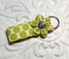 Key Fob Mini / Keyfob / Fabric Keychain / Green And Off White Polka Dot