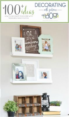 Photo ledge for family pictures plus 100+ ideas on decorating your home with pictures!  Capturing-Joy.com