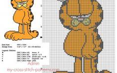 Garfield trasversale libero del punto del modello 63 x 99 punti 5 Filati DMC