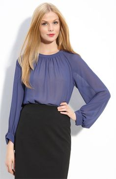 Halogen Shirred Neck Blouse - cuuute with a pencil skirt