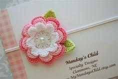 Crochet Flower Headband In Soft Pinks Baby Headbands To Adult