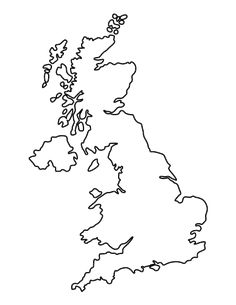Outline Map of United Kingdom | Art projects | Map outline, Uk ...