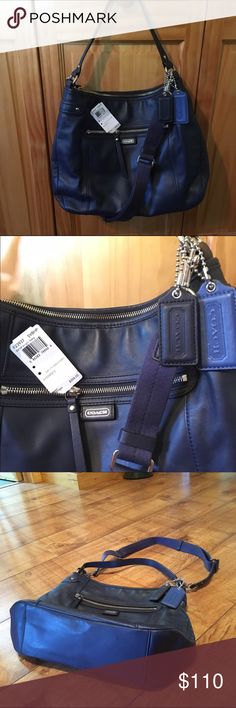 """Coach F23937  Leather Hobo Silver/Midnight Navy Slightly used Leather, Inside zip, cell phone and multifunction pockets, Zip top closure, Fabric lining, Outside zip pocket, Handle with 11"""" drop, Longer strap for shoulder or Crossbody, 13 3/4"""" (L) x 11"""" (H) x 4 3/4"""" (W) Coach Bags Hobos"""