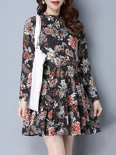 Floral Print Pleated Long Sleeve Loose Stand Collar Mini Dresses