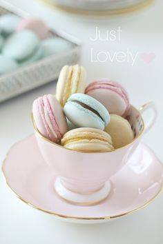 Lovely pastel macarons – With step by step photos on how to make them.