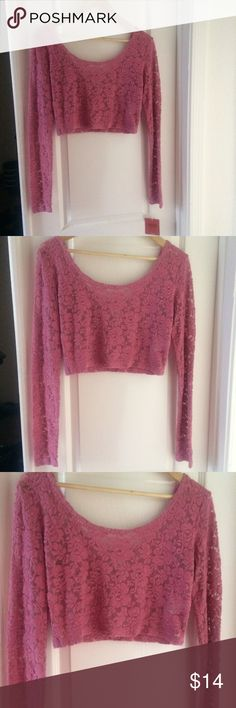 ✨Blush lace velvet crop top Medium. Mossimo from target. Long sleeve crop top blush. Pink lace velvet. NWT. Brand new. Semi see through Mossimo Supply Co Tops Crop Tops