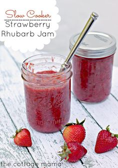 Make this delicious Slow Cooker Strawberry Rhubarb Jam from Lindsay Wilkes of The Cottage Mama. The entire recipe is made in the slow cooker! So easy! Slow Cooking, Slow Cooker Recipes, Crockpot Recipes, Rhubarb Jam Recipes, Rhubarb Uses, Rhubarb Freezer Jam, Healthy Rhubarb Recipes, Vegetarian Recipes, Strawberry Rhubarb Jam