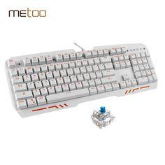 Metoo Z10 Mechanical Keyboard 104 keys Blue Switch Gaming Keyboards for Desktop Tablet PC Russian sticker Gift