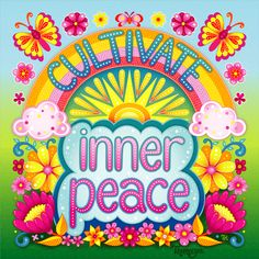 Cultivate Inner Peace 💖 This whimsical animated GIF features art by Thaneeya McArdle. This artwork is featured in Thaneeya's 2019 It's All Calendar and is also available on pillows, tapestries, shirts and more 😊 Yoga Studio Design, Positive Phrases, Positive Messages, Positive Quotes, Free Coloring Pages, Coloring Books, Monólogo Interior, Beatles, Bohostyle