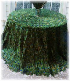 peacock feather tablecloth