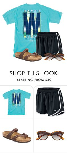 """""""My friend has this shirt"""" by flroasburn ❤ liked on Polyvore featuring NIKE, Birkenstock and H&M"""
