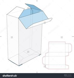 Tall Box With Flip Lock Bottom And Die-Cut Pattern Layout Stock Vector Illustration 178863680 : Shutterstock