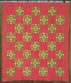 Antique PA Antique c1880 Quilt Turkey Red Green Yellow Stars with Strip Backing | eBay Vintageblessings