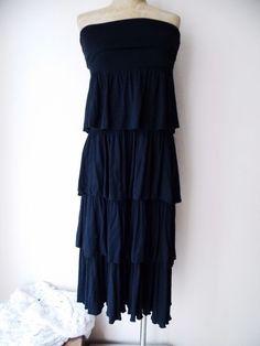Lapis Dress Size Medium Black Convertible Tiered Ruffle Stretch Maxi Skirt #Lapis #Maxi #LittleBlackDress