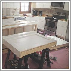 This kitchen island is made from a surprisingly simple frame built around two stock cabinets, and can be sized to fit ANY base cabinets by changing only ONE measurement. When we started our kitchen… Kitchen Island With Seating, Diy Kitchen Island, Diy Kitchen Storage, Kitchen Ideas, Pantry Ideas, Kitchen Stuff, Kitchen Designs, Black Kitchen Cabinets, Black Kitchens
