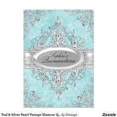 Teal & Silver Pearl Vintage Glamour Quinceanera 5x7 Paper Invitation Card