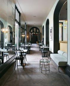 Interior Concept, Interior Design, Italian Bar, Amsterdam, Restaurant Bar, Oversized Mirror, Villa, College, Table