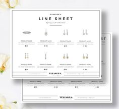 Minimalist Line Sheet Photoshop Template, Wholesale Catalog, 4 Layouts, Product Sales Sheet, Photoshop & InDesign, INSTANT DOWNLOAD!
