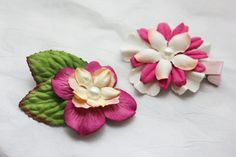 Pink Peach and White Flowers Hair Clip  Set of 2 by BabyGeneration, $3.50