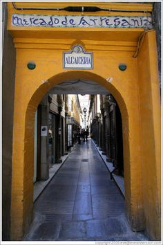 Entrance to the Alcaicería, originally Granada's Moorish silk bazaar. City center. Spain