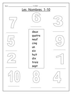 A simple work sheet for introducing the numbers When it has been completed with the numbers written in, adult could then tell the children what colour to colour the numbers shapes. Hence this doubles up as a colour revision activity too. French Language Lessons, French Language Learning, French Lessons, French Flashcards, French Worksheets, French Teaching Resources, Teaching French, Spanish Activities, Math Activities