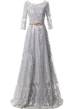 145ce66f0e MILANO BRIDE Modest Prom Pageant Dress Cheap Jewel Sleeves Floor-Length  Beads Belt at Amazon Women s Clothing store  Formal Prom