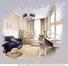 Синий и бежевый в интерьере детской комнаты  http://www.ok-interiordesign.ru/ph_dizain-detskoy-komnaty.php
