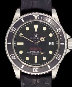 1972 - Very rare steel Rolex Oyster Double Red Sea Dweller. Black Dail and Date.
