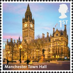 Buy and sell stamps from Great-Britain. Meet other stamp collectors interested in Great-Britain stamps. Postage Stamps Uk, Uk Stamps, Great Britan, Manchester Town Hall, Royal Mail Stamps, Interesting Buildings, Stamp Collecting, Britain, United Kingdom