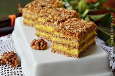 prajitura krantz Romanian Food, Romanian Recipes, Eat Dessert First, Food Festival, Dessert Recipes, Desserts, Banana Bread, Sweet Treats, Good Food