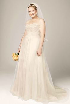 Brides.com: Designer Plus-Size Wedding Dresses We Love. Style 9WG3586, strapless A-line beaded lace tulle gown, $499, David's Bridal  See more David's Bridal wedding dresses.