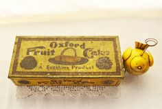 Biscuit Tin Box  Light Yellow Oxford Fruit Cake by Vintassentials