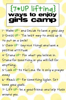 7-UPlifting ways to enjoy girls camp. For Camp Kickoff activity.
