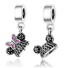fc2d0dd49 925 Sterling Silver Cute Cartoon Animal Minnie Mickey Fit Pandora Charm  Original Bracelet Necklace Bead Jewelry