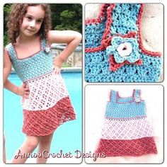Bermuda Bliss Tricolor Dress Free Pattern By AnnooCrochet Designs  I created This dress while in Bermuda, inspired by the turquoise water, the pink sand, and the beautiful Burnt Orange Sunset.... When