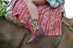 Moroccan Leather Rounded Kilim Ankle Boots – size 38 - £150 - SOLD!