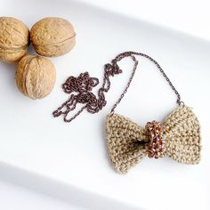 Earthy colours  at DaWanda Fabric Necklaces – Crochet linen bow necklace, beaded bow necklace – a unique product by BERTAMATU on DaWanda
