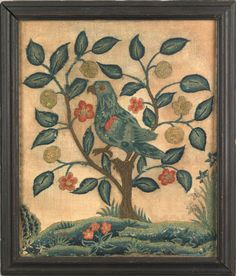 Price:   23,400  Philadelphia wool on linen needlework, ca. 1750, depicting a bird perched on a floral tree atop a grassy landscape, 11 3/4 x 9 3/4. For a similar example, see Swan, A Winterthur Guide to American Needlework,    ~♥~