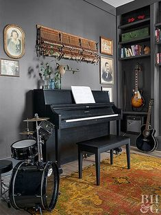 Adding Charm to a Modern Farmhouse is part of Home studio music - Permission to play with color and art Granted! Music Room Art, Home Music Rooms, Music Studio Room, Audio Studio, Music Decor, Music Bedroom, Music Room Decorations, Music Music, Recording Studio