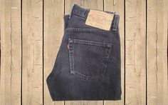 Vintage Levis 501 Jeans USA Made 1990s Faded Black Denim Straight Leg Button Fly…