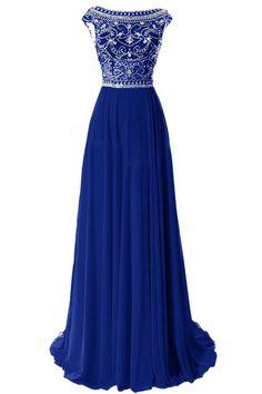 Sheath Bateau Neckline Long Royal Blue Chiffon Beaded Prom Dress