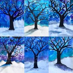 Image may contain: tree, snow and outdoor Christmas Art For Kids, Christmas And New Year, 7 Elements Of Art, Winter Art Projects, 5th Grade Art, Art Plastique, Art Lessons, Art Drawings, Arts And Crafts