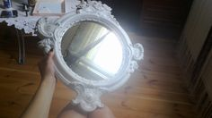 shabby chic, mirror, vintage, white, retro,