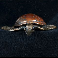 Bronze, Sterling Silver & Shibuichi Sea Turtle Pendant by Robert Burkett
