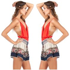 Boheimian Embroidered Shorts, Coral Cross Cami Body Suit